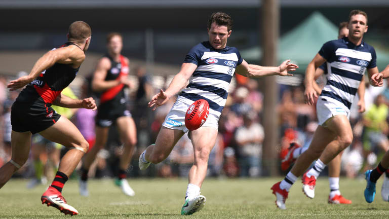 Patrick Dangerfield pulled up short and did not take any further part in the game after this first-quarter kick at Colac yesterday.