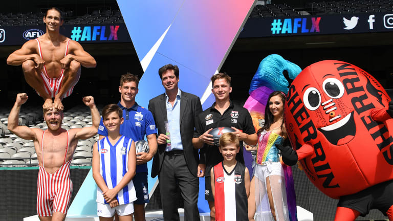 What a circus:  Various performers at the launch of the AFLX competition.