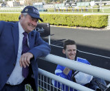 Trainer Gordon Richards and Jason Collett are all smiles after the Concorde Stakes.