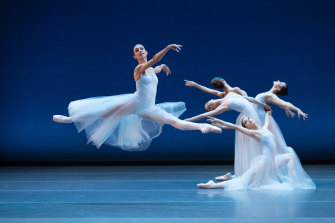 Dimity Azoury dances in the <i>Serenade</i> portion of Australian Ballet's triple bill <i>New York Dialects</i>.