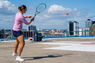 Ashleigh Barty plays some rooftop tennis during a recent hospital visit in Brisbane.