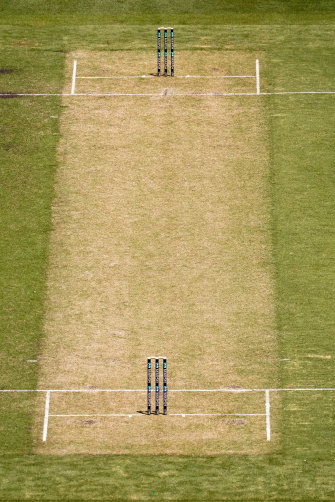 The MCG pitch after it was decided it was unsafe to continue play during a Sheffield Shield match in early December.