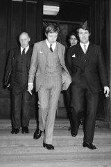 John Krummel and Charles Little leave court.