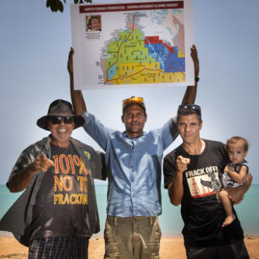 Traditional owners protesting fracking.