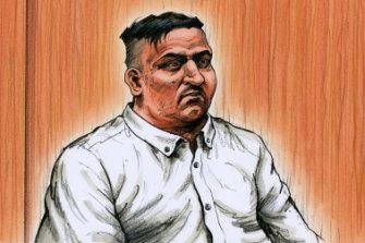 A sketch of James Gargasoulas in court