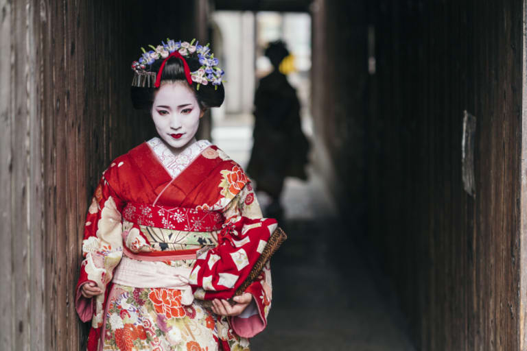 Geisha on the streets of Gion in Kyoto.