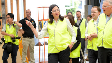 Queensland Premier Annastacia Palaszczuk (centre) visits the TAFE Skill Centre at Acacia Ridge.