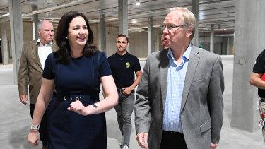 Queensland Premier Annastacia Palaszczuk and GOLDOC chairman Peter Beattie at the Games Village site earlier this month.