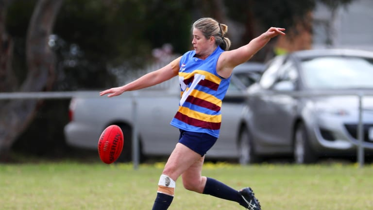 Lee Brown playing in a one-off AFL Masters Carnival in  Geelong in October 2017. She has signed up to the inagural Women's AFL Masters competition that is about to kick off.