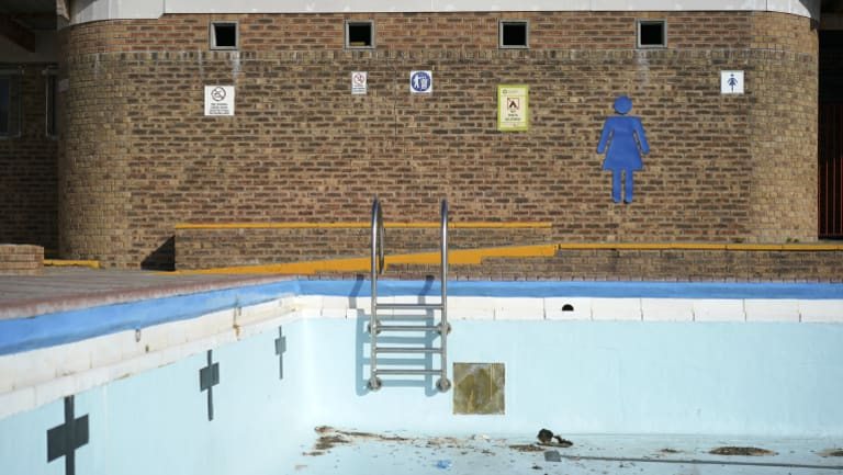 An empty public swimming pool in Mitchells Plain outside of Cape Town.