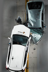 The white 2015 Toyota Corolla versus the grey 1998 Corolla were put to the test. Experts say a driver of the 1998 would have had little chance of surviving a head-on collision at speed.