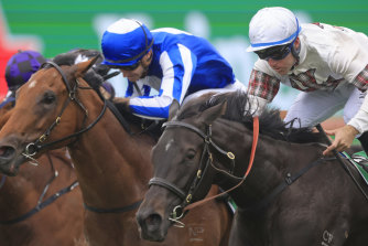 Jamaea and Tommy Berry (right) win the Percy Sykes Stakes at The Championships.