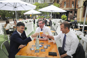 Minister for Customer Service Victor Dominello, Premier Dominic Perrottet, Minister for Planning and Public Spaces Rob Stokes.