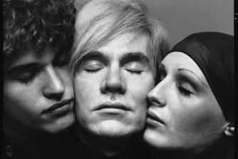 Andy Warhol, artist, Candy Darling and Jay Johnson, actors, New York, August 20, 1969