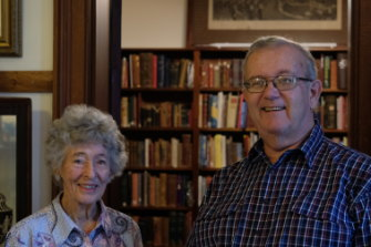 Pat James and Andy Douglas, another historical society volunteer, at the Schaeffer House in Grafton.