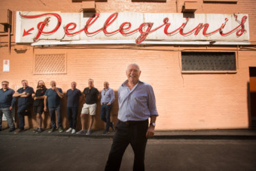 Nino Pangrazio from Pellegrini's cafe (foreground) with restaurateurs (left to right) Guy Grossi, Teage Ezard, Trei Hoglund, Con Christopoulos, Matthew Herbert, Denis Lucey and Simon Hartley.