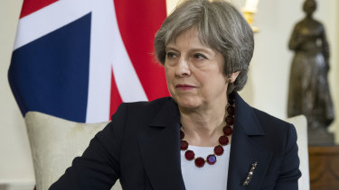 Theresa May inside number 10 Downing Street on Wednesday.