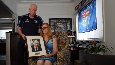 """Someone knows:"" Des and Kathy Lindsell at their home in Gymea, where their son Jeffrey was killed in a fire."