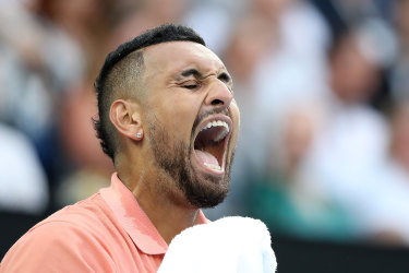 Fired-up Kyrgios fights back to claim second set against Nadal