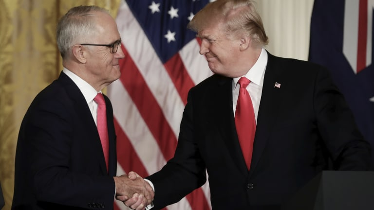 Malcolm Turnbull and Donald Trump at the White House in February.