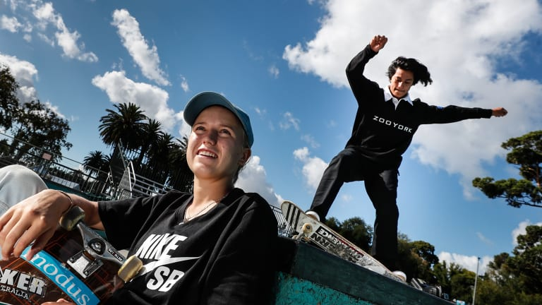 Not just hanging out: elite teenage street skateboarders Hayley Wilson, left, and Brad Saunders train hard in sessions at Riverslide Skate Park in the Alexandra Gardens.