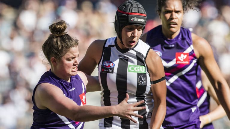 Collingwood's Brittany Bonnici is tackled.