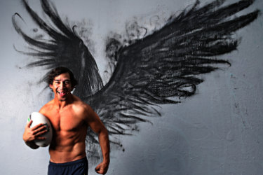 Johnathan Thurston .************MUST CREDIT ******** Jugglers art space and  Aritist  BoHDi . Photo belongs to Annette Dew any photo sales to Annette .Pic Annette Dew Brisbane Portrait Prize entrant Annette Dew created a Johnathan Thurston portrait inspired by the wings he has tattooed on his back.