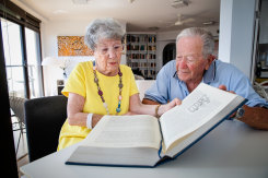 Ruth Wilson, 88, with her husband of 67 years, David, reading Austen aloud.