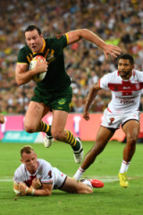 Boyd Cordner playing for the Kangaroos in the Rugby League World Cup against England.