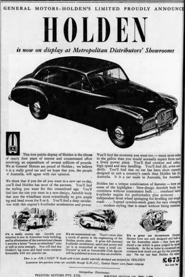 An advertisement in The Age for the new Holden. December 1, 1948.