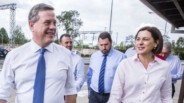 LNP leader Tim Nicholls, campaining with his deputy, Deb Frecklington, said the report says coal fired should be considered.