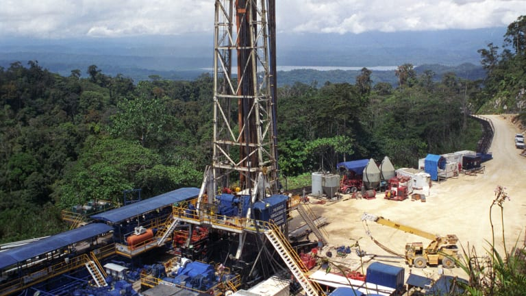 Oil Search drill site at Kutubu Southern Highlands in PNG.