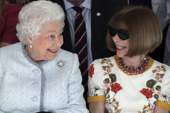 Queen Elizabeth joins fashion royalty in front row at London Fashion Week