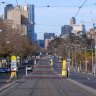 Lygon St in Melbourne's Brunswick is deserted on Monday morning.