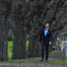Melbourne CityCouncillor Nick Reece at the MCG with some of the trees set to be added to the city's Exceptional Tree Register.