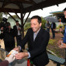 On election day, smiling Matthew Guy feels the love (and loathing) at his old primary school