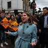 Liberal Democrats are now viewed as the main anti-Brexit party by voters, according to a YouGov poll. Party leader Jo Swinson is pictured here in St Albans, England.