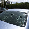 Hail-damaged cars in Canberra on Monday this week.