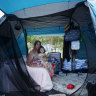 Karrina Kemp pays $585 rent for her home, but she's living in a tent at the QLD border