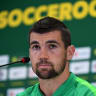 Australian goalkeeper Mathew Ryan Massimo Luongo Trent Sainsbury speaks to the media during a press conference at their training base at the Stadium Trudovye Rezervy in the lead up to their opening match against France in the FIFA 2018 World Cup,