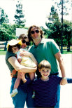Jocelyn Moorhouse and PJ Hogan with their children Lily and Spike in Santa Monica in 1996.