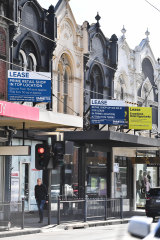 Vacant shops along Chapel Street in South Yarra.