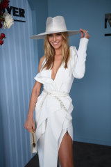 Jennifer Hawkins at Myer's Fashions on the Field enclosure on Derby Day.