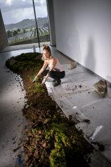 Belle Bassin installs her work at TarraWarra Museum of Art.