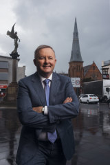 Anthony Albanese in Sydney's inner-west suburb of Marrickville, part of his electorate.