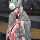 Masiero was on stage to present the award for best costume, wearing a donkey outfit, before she stripped before the audience.