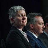 Dr Luci Ellis, Reserve Bank of Australia with shadow treasurer Chris Bowen.