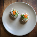 English muffins with spanner crab, buttermilk and salmon roe.
