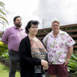 (Left-right) Members of Doyalson Wyee RSL Club, Troy Stolz, Wendy Boyd and Rod Beech are speaking up about the club excluding members form a new lounge area