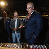 Scott Morrison and Guy Sebastian last year, when the Prime Minister announced an arts rescue package.